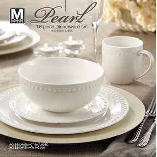 Rim Pearl 16 Piece Dinnerware Set Service for 4 & Bone China Dinnerware Sets You\u0027ll Love | Wayfair