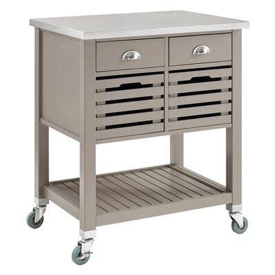 Charlton Home Chason Kitchen Cart with Stainless Top