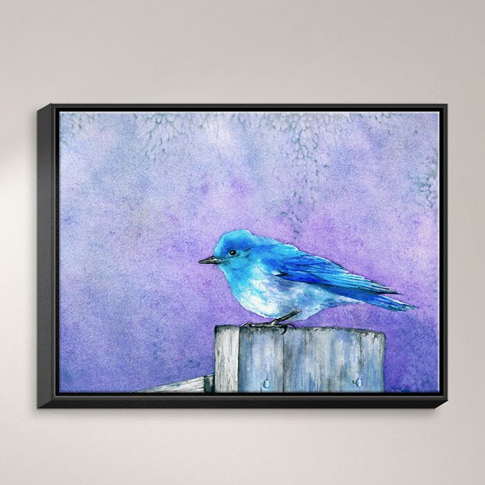 Dianochedesigns Bluebird Bliss Framed Watercolor Painting Print On Wrapped Canvas Wayfair