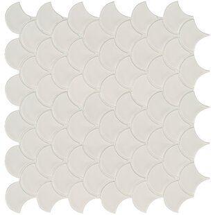 Domino Fish Scale Mesh Random Sized Porcelain Mosaic Tile