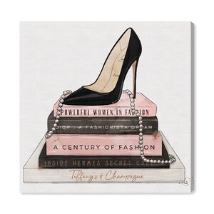 'Classic Stiletto and High Fashion Books' Graphic Art Print on Canvas