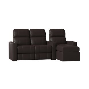Red Barrel Studio Top Grain Leather Home Theater Sofa (Row of 3) (Set of 3)