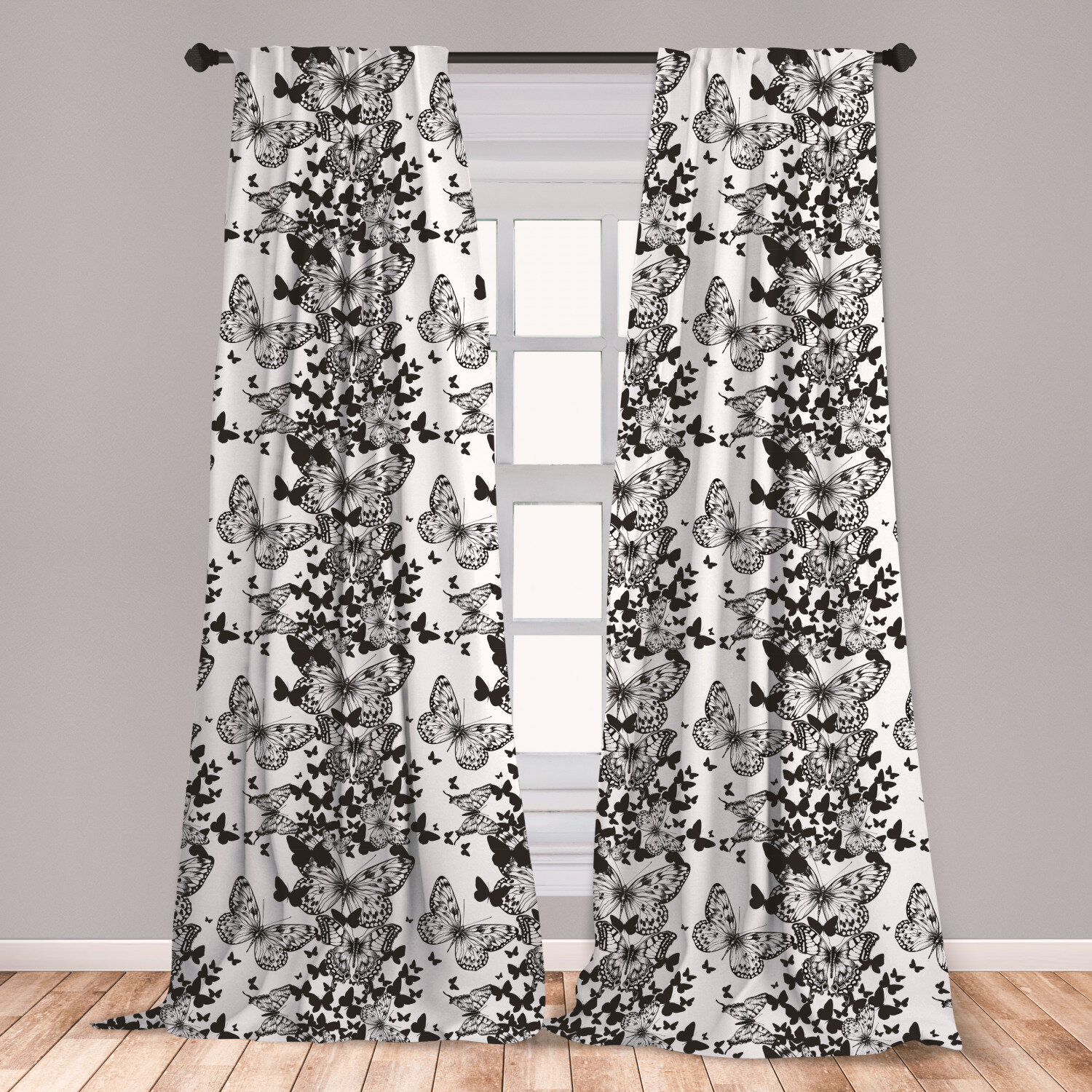 East Urban Home Antigua Black And White Curtains Starry Night Drifter Butterfly Silhouettes Monochrome Sketch Style Fauna Window Treatments 2 Panel Set For Living Room Bedroom Decor 56 X 63 Black White Wayfair