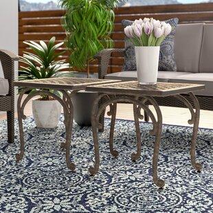Quitaque Cast Aluminum Outdoor Side Table (Set of 2)