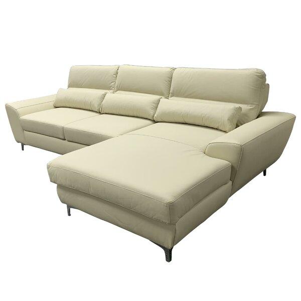 Orren Ellis Danyel 111 Wide Genuine Leather Right Hand Facing Sleeper Sofa Chaise Wayfair