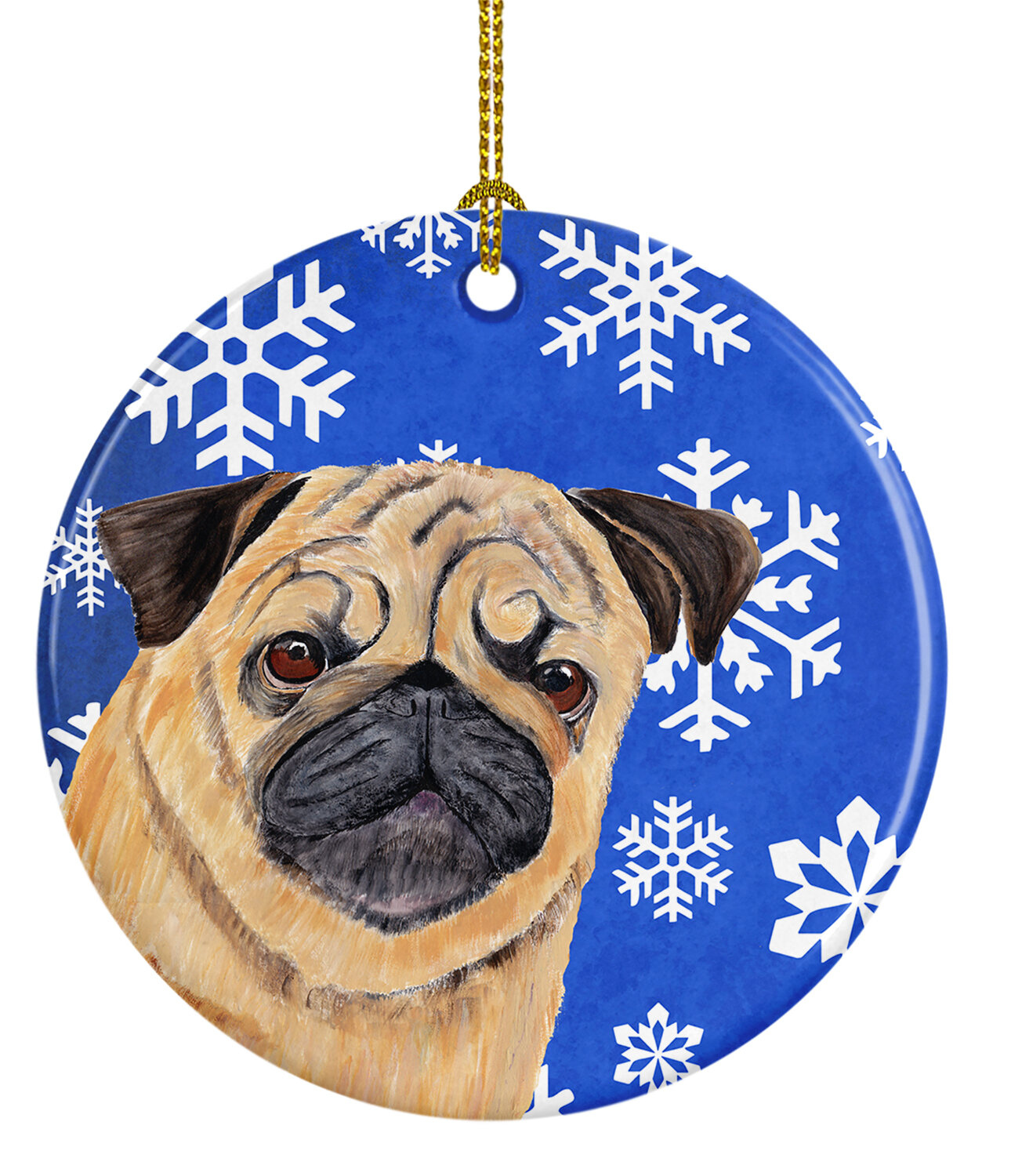 The Holiday Aisle Pug Winter Snowflakes Holiday Ceramic Hanging Figurine Ornament Wayfair