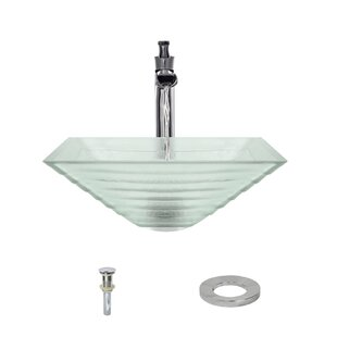 MR Direct Tiered Glass Square Vessel Bathroom Sink with Faucet