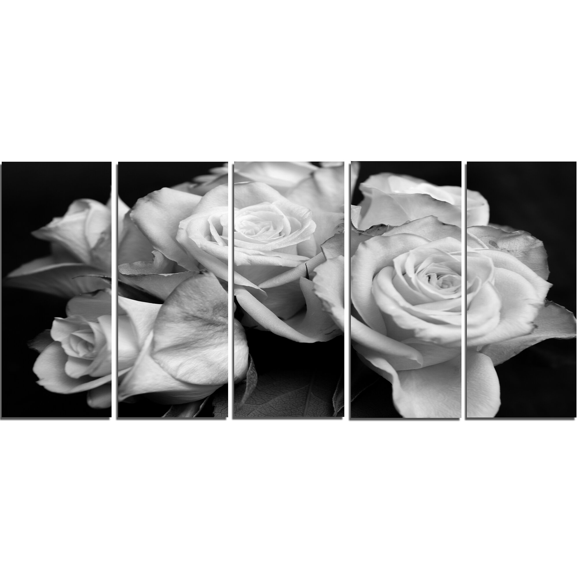 Designart Bunch Of Roses Black And White 5 Piece Wall Art On Wrapped
