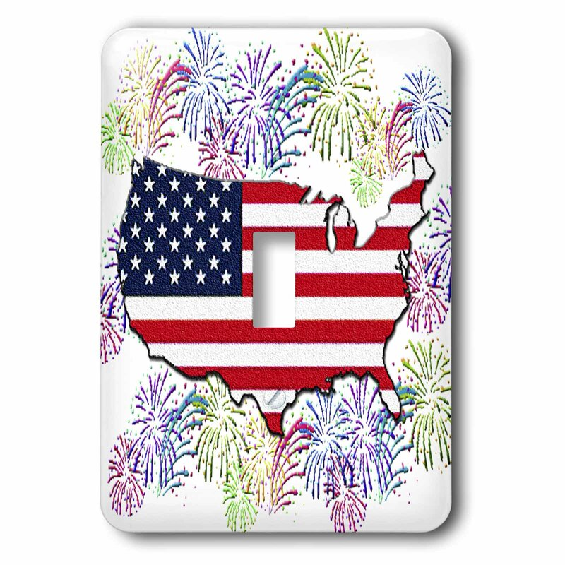 3drose Fireworks Usa Flag Map 1 Gang Toggle Light Switch Wall Plate Wayfair