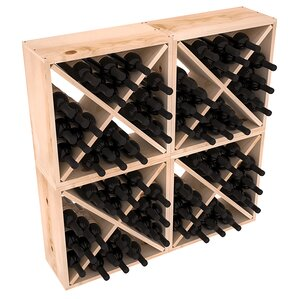 Karnes Pine Rustic Cube 96 Bottle Floor Wine Rack by Red Barrel Studio
