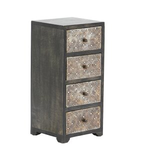 Bloomsbury Market Cima Rustic Rectangular 4-Drawer Free Standing Jewelry Armoire