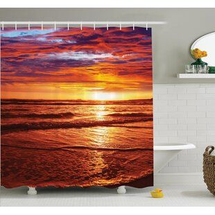 Nautical Sea Sunset Twilight Shower Curtain Set by Ambesonne