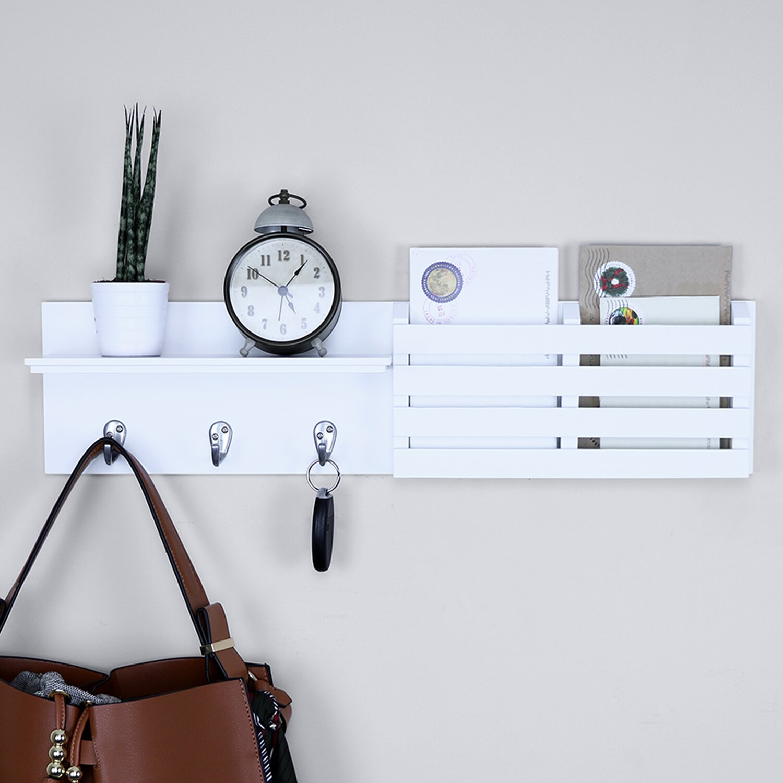 Wooden White Letter Holder Rack With 3 Key Hooks ~ Letter And Key Rack by Carousel Home