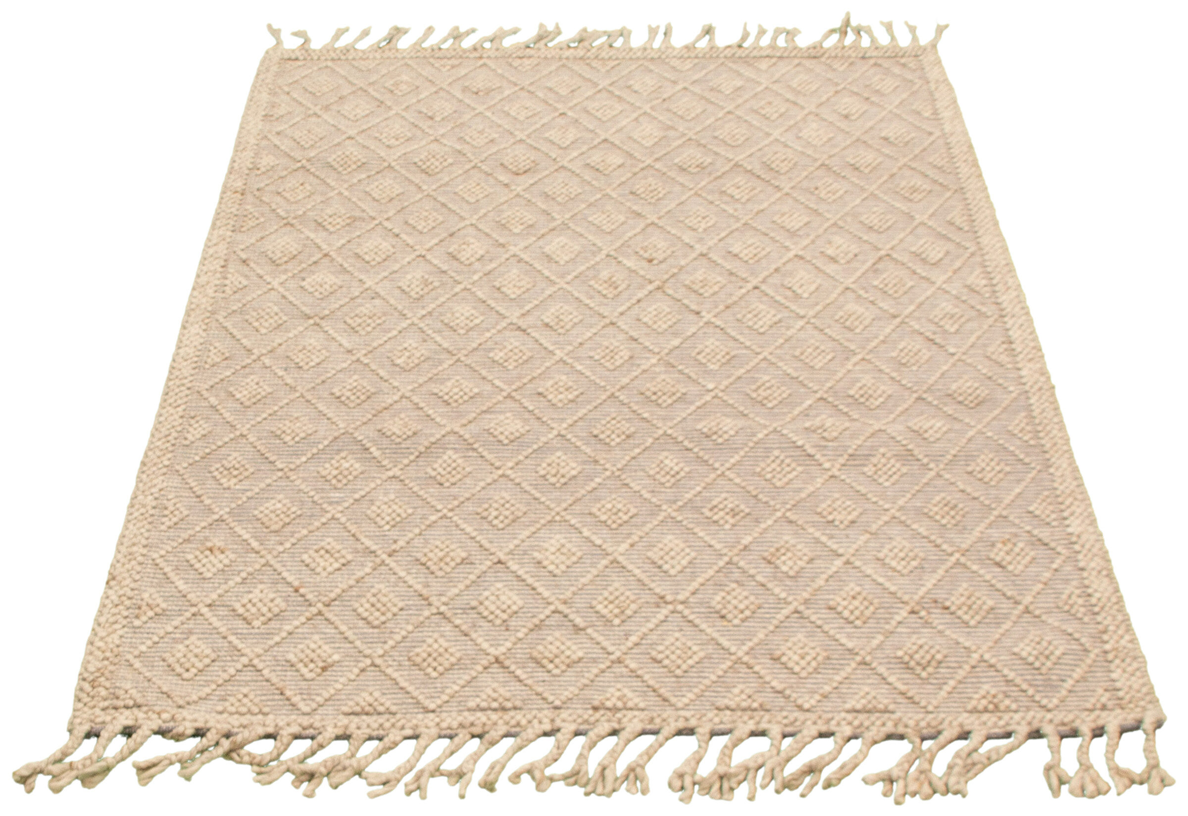 Dakota Fields Geometric Hand Braided Wool Beige Area Rug Wayfair