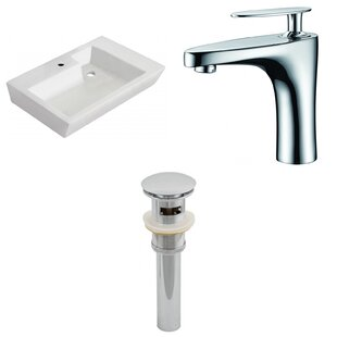 Best Reviews Ceramic 26 Wall Mount Bathroom Sink with Faucet and Overflow By American Imaginations