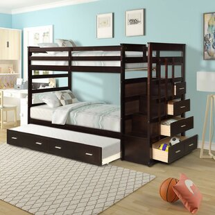 Wood Twin over Full Bunk Bed with Trundle and Drawers