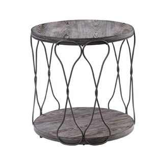 Malley Round Industrial Metal and Solid Wood End Table by Williston Forge