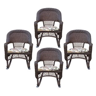 Bay Isle Home Belwood Resin Wicker Rocking Chair with Floral Cushions (Set of 4)