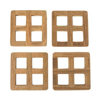 3dRose cst/_16229/_3 Vintage Fire Engine with Company Sepia-Ceramic Tile Coasters Set of 4