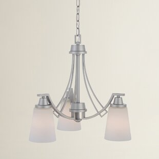 Simpson 3-Light Shaded Glass/Crystal Chandelier by Latitude Run