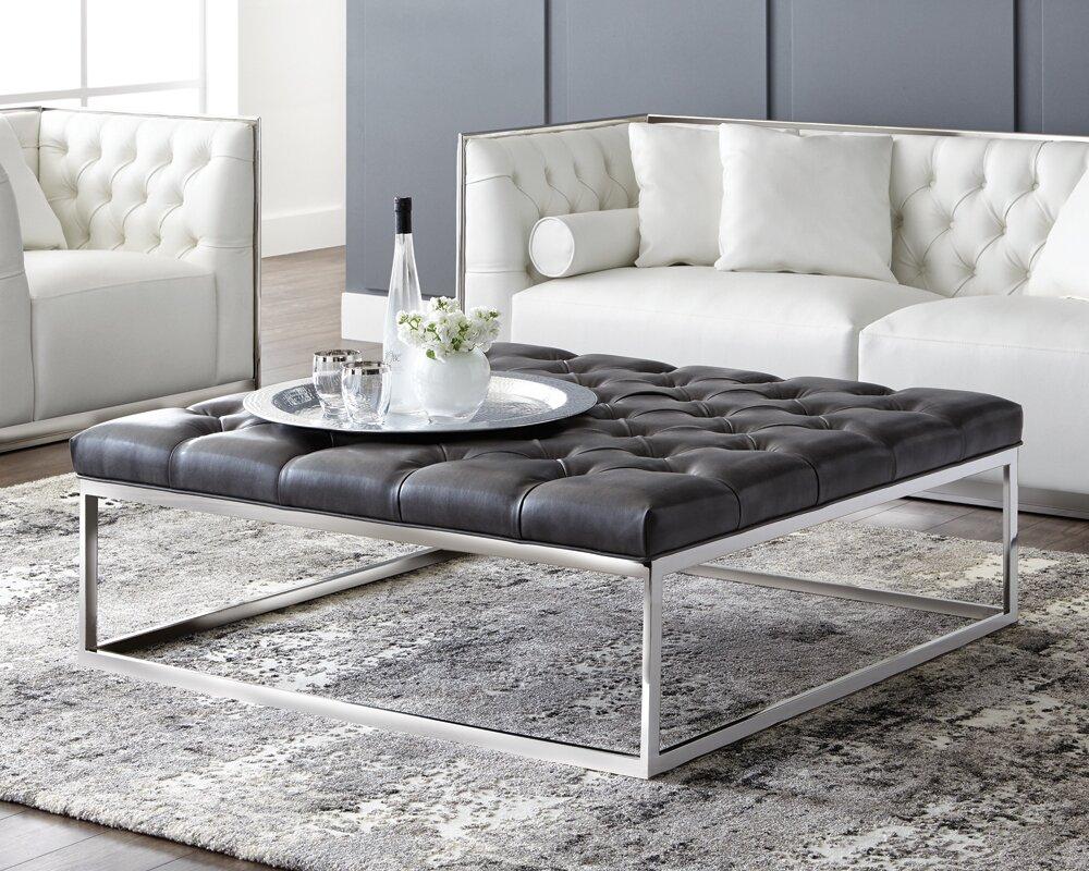 gray leather ottoman  git designs - defaultname  sunpan modern club sutton square large leather ottoman reviews