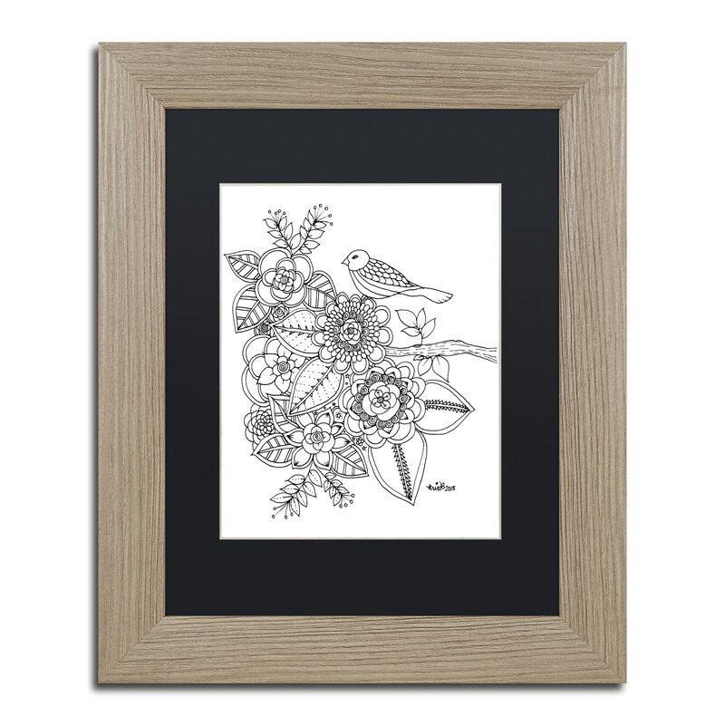 Trademark Art Bird Framed Graphic Art On Canvas Wayfair