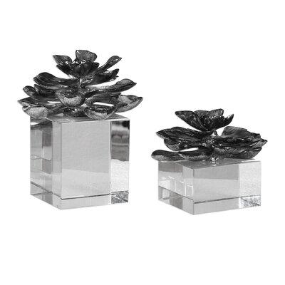 Brayden Studio Indian Lotus Metallic Flowers 2 Piece Sculpture Set