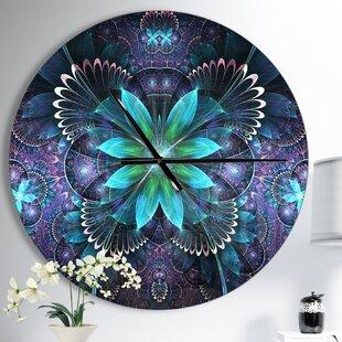 Designart Fractal Flower Digital Modern Wall Clock by East Urban Home