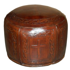 Roberto Round Handtooled Cross Leather Ottoman by Bloomsbury Market