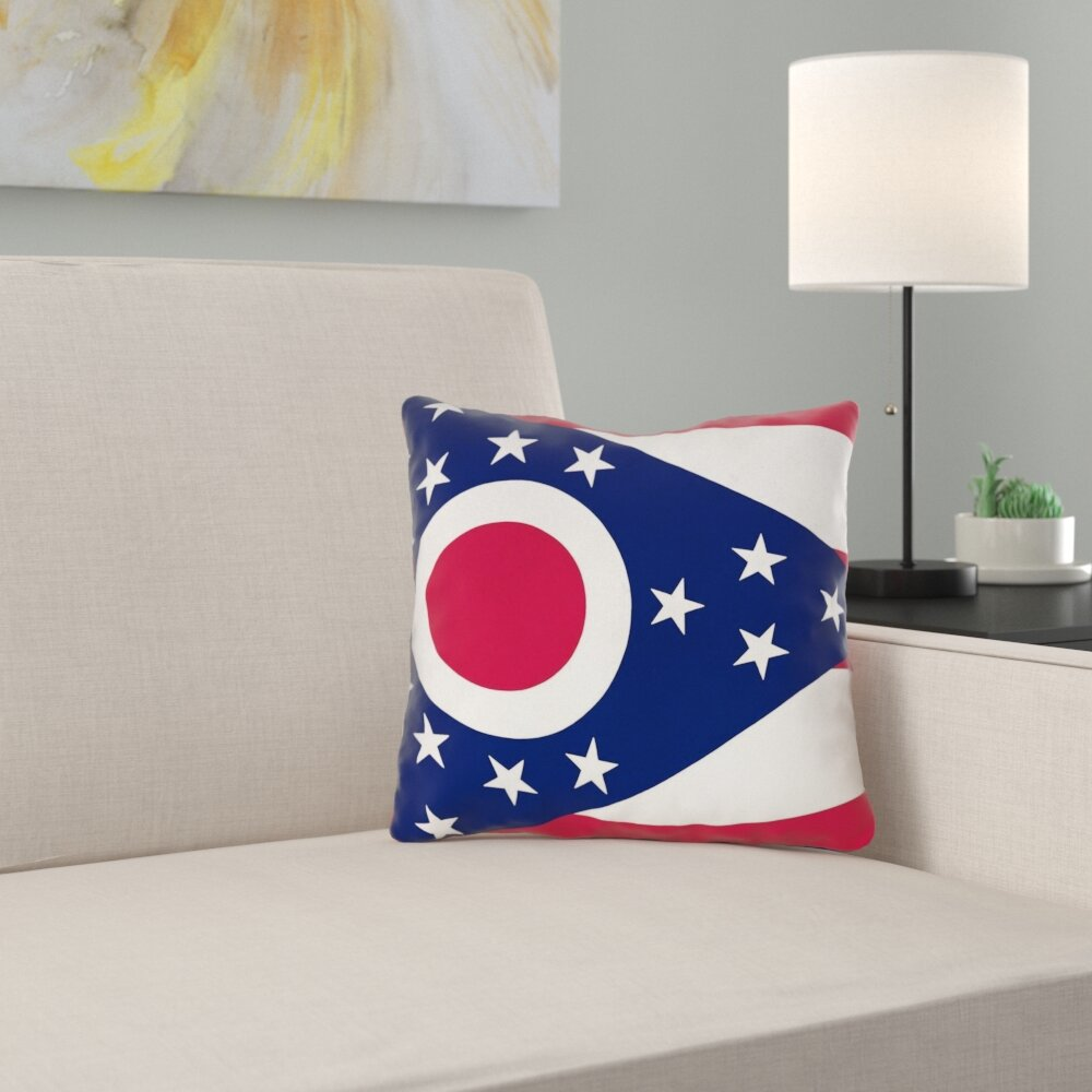 East Urban Home Centers Ohio Flag In Poly Twill Pillow Cover Concealed Zipper Indoor Wayfair