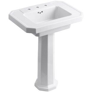 Reviews Kathryn Ceramic 27 Pedestal Bathroom Sink with Overflow By Kohler