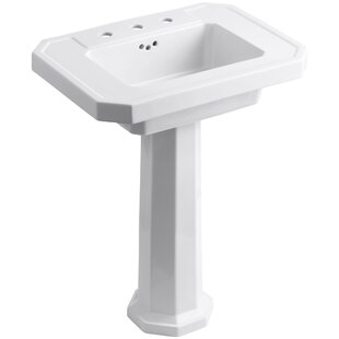 Affordable Price Kathryn Ceramic 27 Pedestal Bathroom Sink with Overflow By Kohler