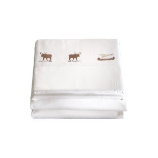 Loon Peak Halima 4 Piece Embroidered Moose 200 Thread Count 100% Cotton Sheet Set