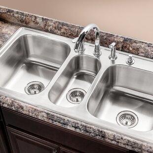 Houzer Premiere Gourmet Topmount Triple Bowl Kitchen Sink