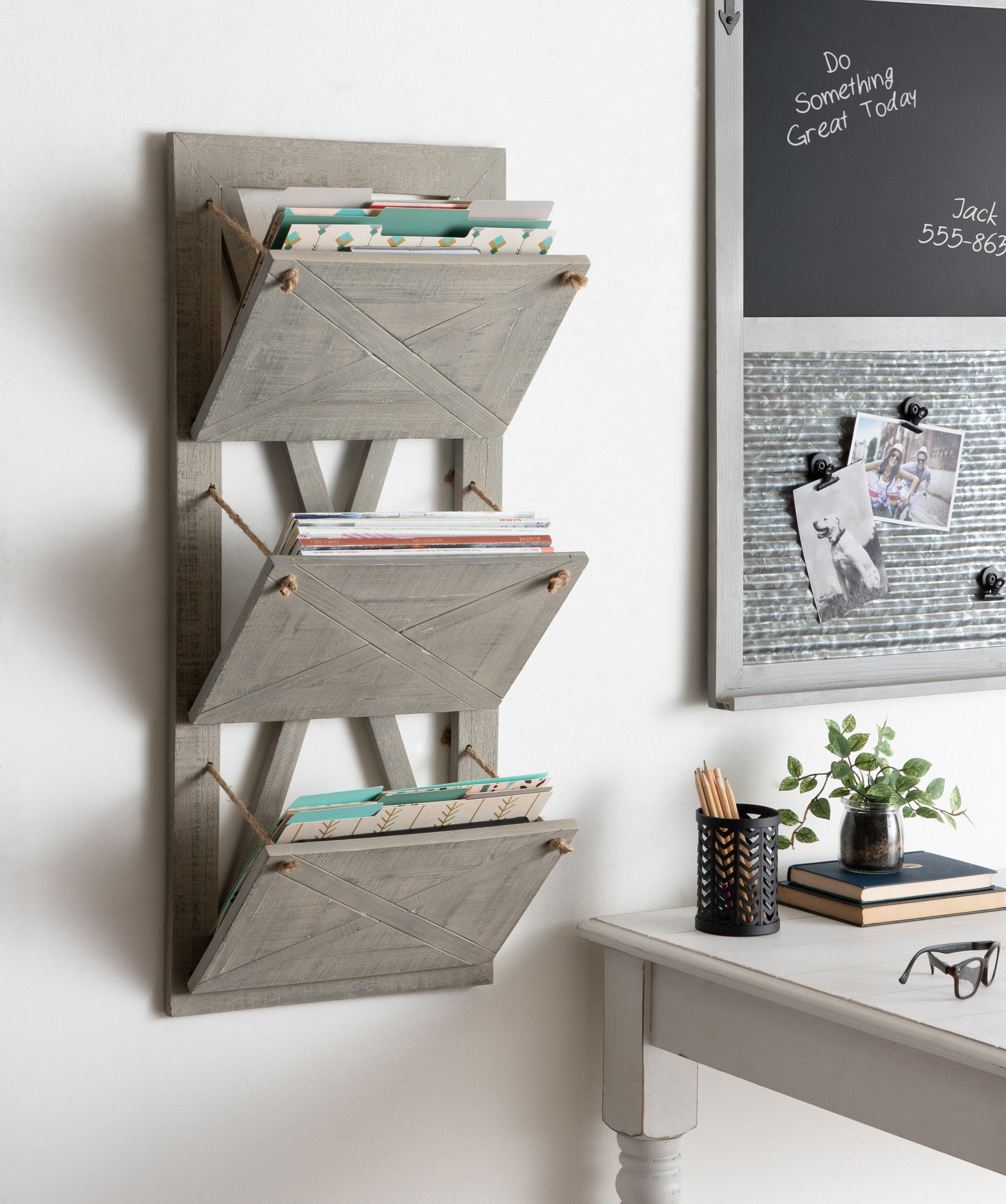 Kate And Laurel Hardeman 3 Pocket Hanging Wall File Holder Reviews Wayfair Ca