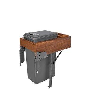 Top Mount Walnut Waste Container Trash Can Pull Out/Under Conter Trash Can Compactor by Rev-A-Shelf