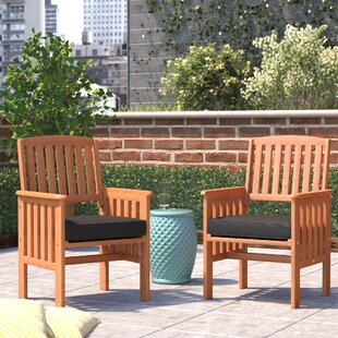 Folse Patio Dining Chair with Cushion (Set of 2)