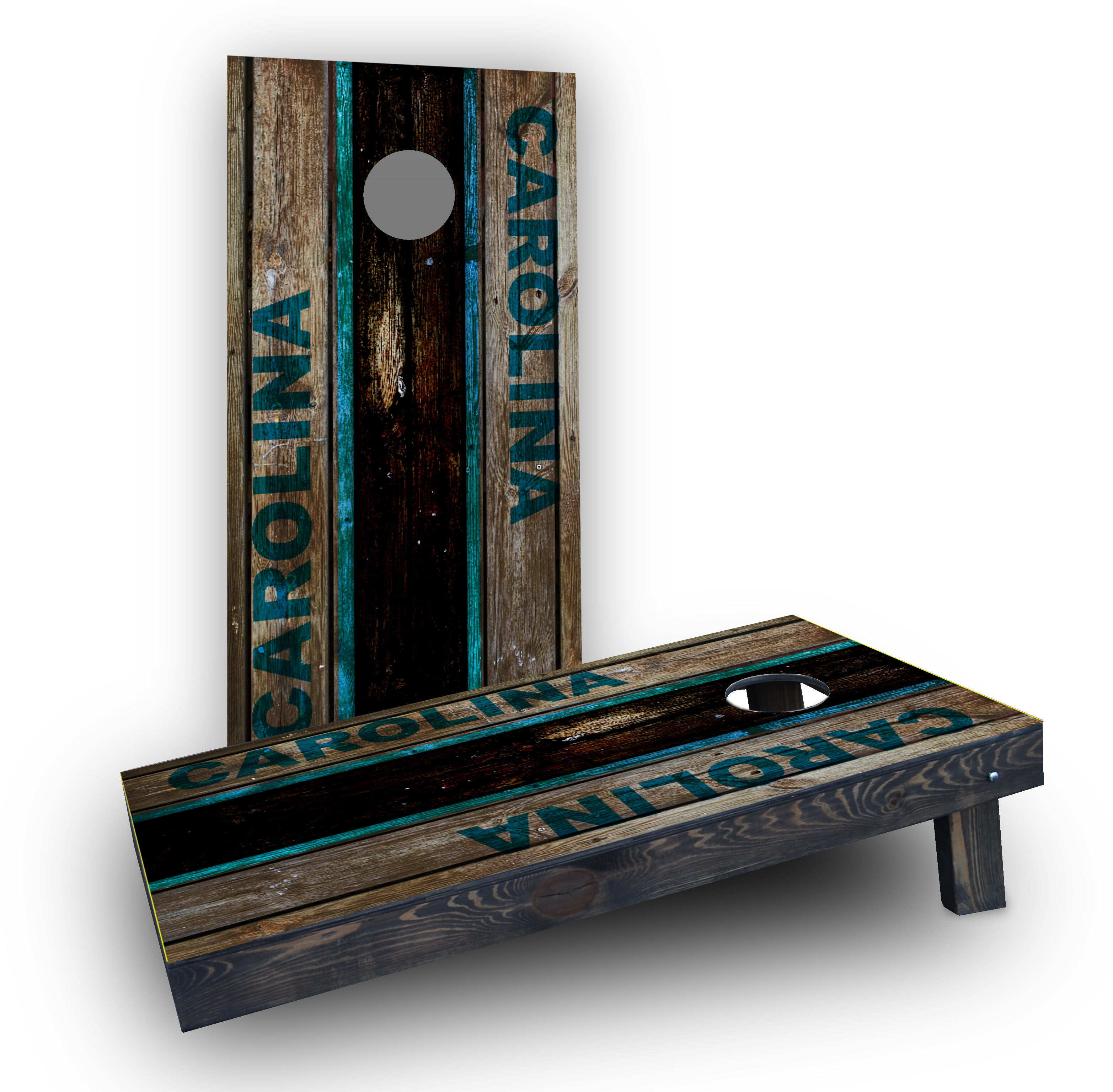 Carolina Wood Slat Themed Custom Cornhole Boards