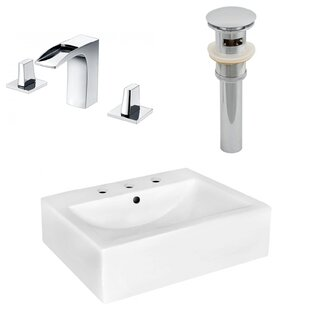 American Imaginations Ceramic Rectangular Bathroom Sink with Faucet and Overflow