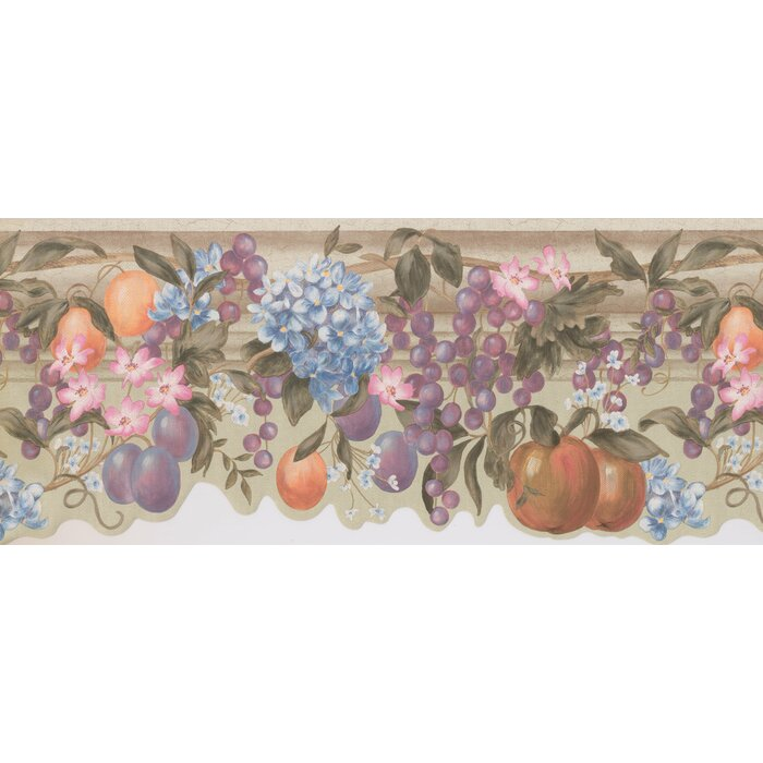 Retro Design 15 L X 10 25 W Flowers Fruits Grapes On Vine Extra Wide Wallpaper Border