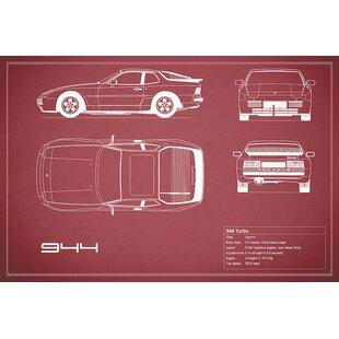 'Porsche 944 Turbo' Graphic Art Print on Canvas in Maroon ByEast Urban Home