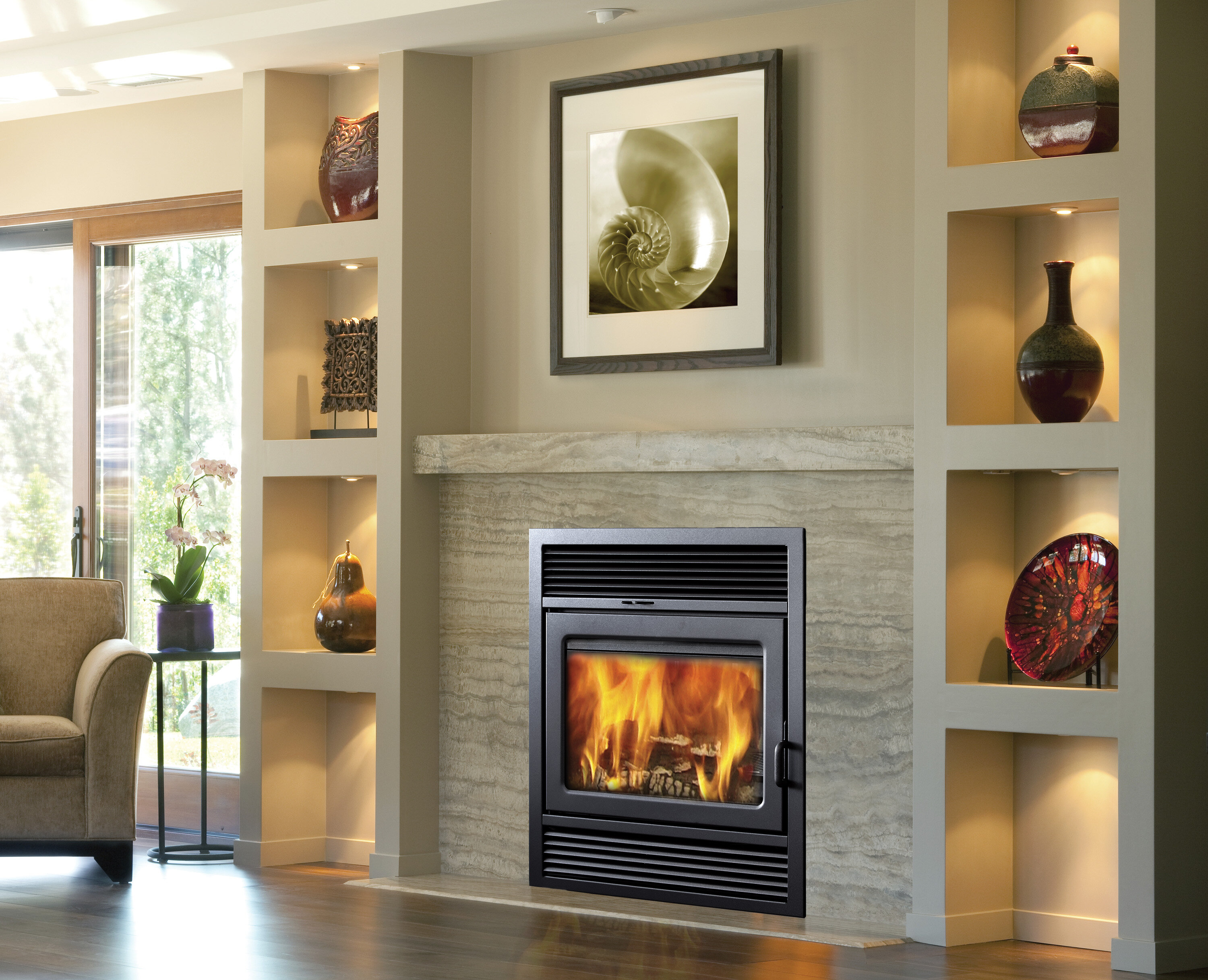 Supreme Fireplaces Inc Galaxy Recessed Wall Mounted Wood Burning