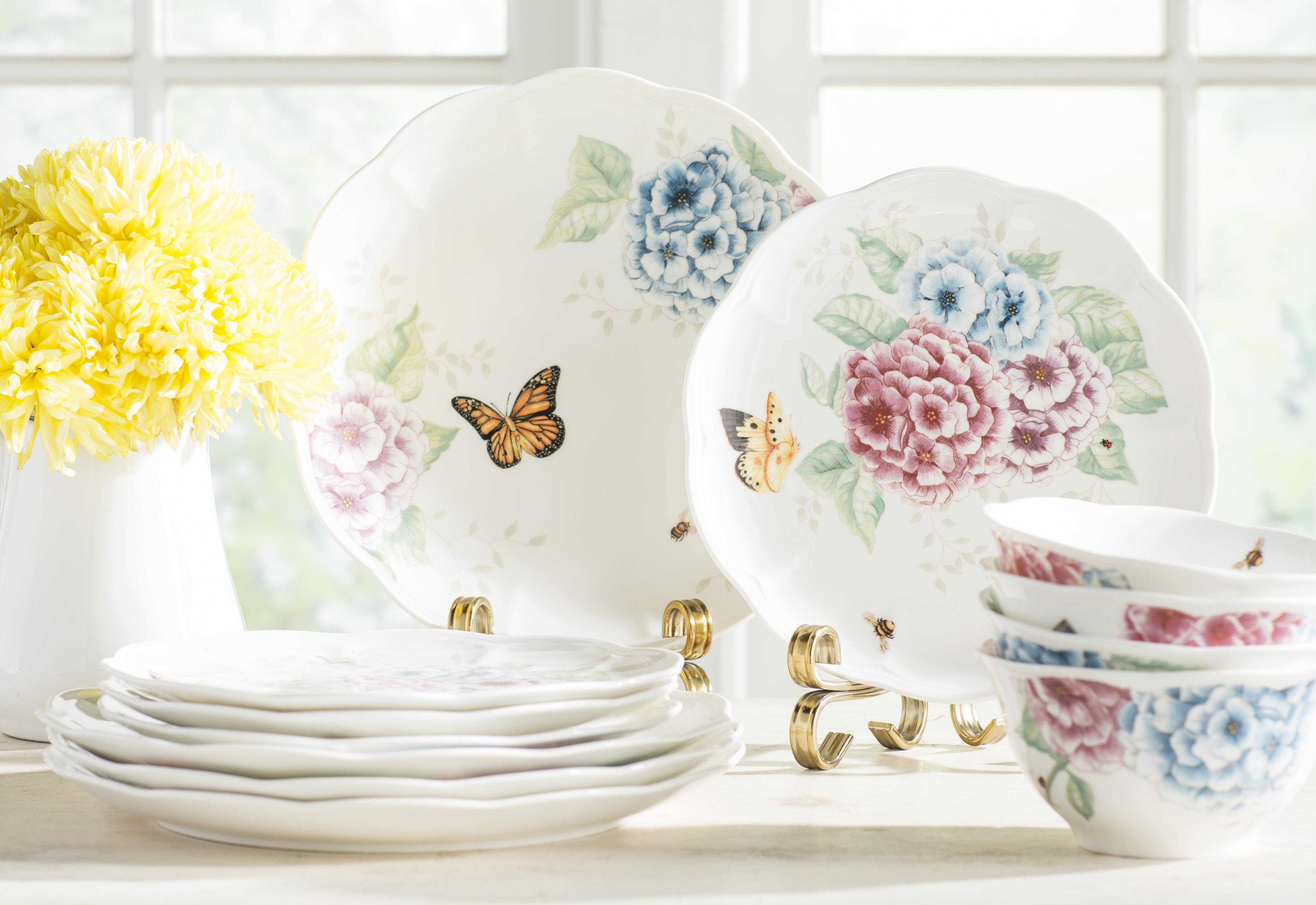 Lenox Butterfly Meadow Hydrangea 12 Piece Dinnerware Set Service for 4 u0026 Reviews | Wayfair & Lenox Butterfly Meadow Hydrangea 12 Piece Dinnerware Set Service ...