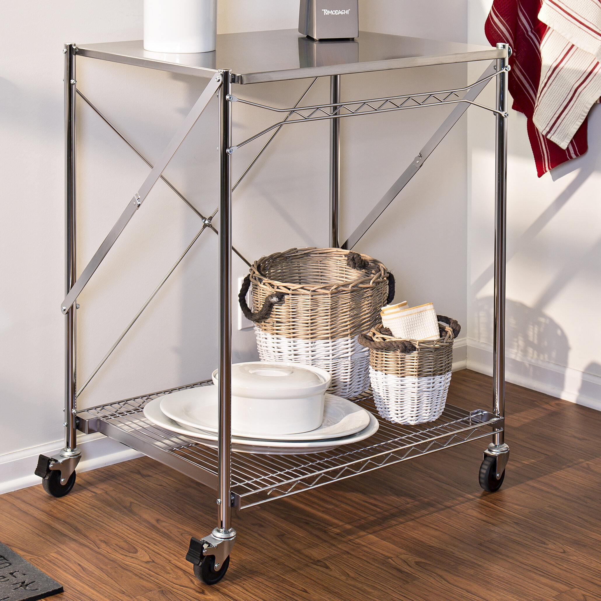 Origami Foldable Kitchen Island Cart, Black | 2060x2060