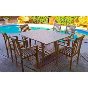 Teak 7 Piece Sunbrella Dining Set with Cushions by IKsunTeak