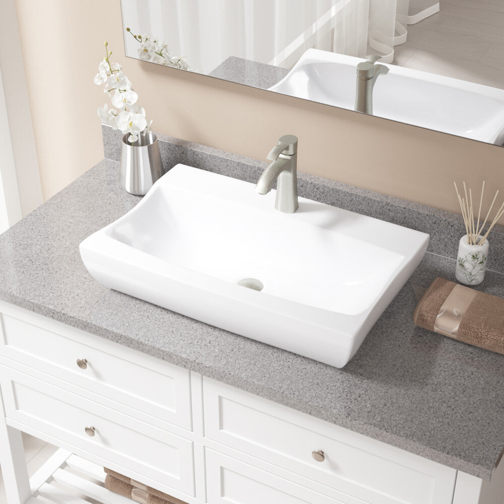 MRDirect Vitreous China Rectangular Vessel Bathroom Sink with Faucet & Reviews | Wayfair