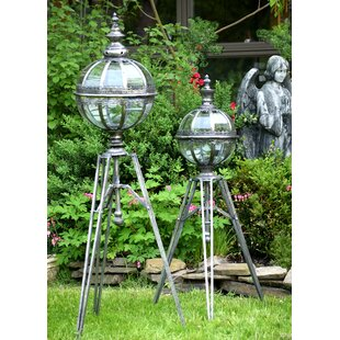 2 Piece Glass and Iron Lantern Set by Bloomsbury Market