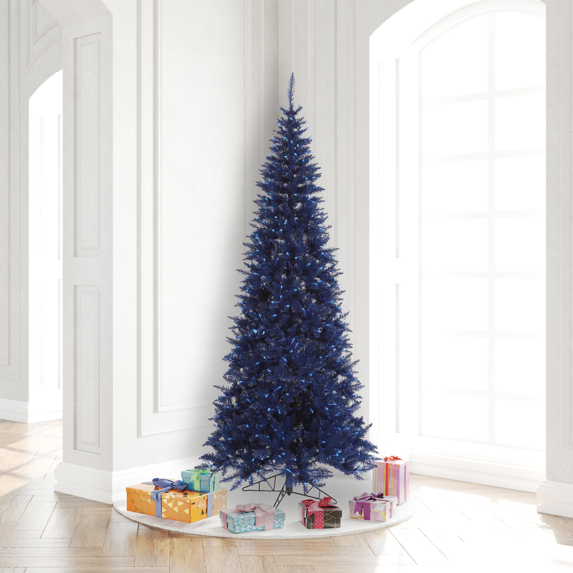 Millwood Pines 7 5 Navy Blue Fir Artificial Christmas Tree With 500 Led Blue Lights With Stand Wayfair