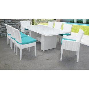 TK Classics Miami 9 Piece Outdoor Patio Dining Set with Cushions