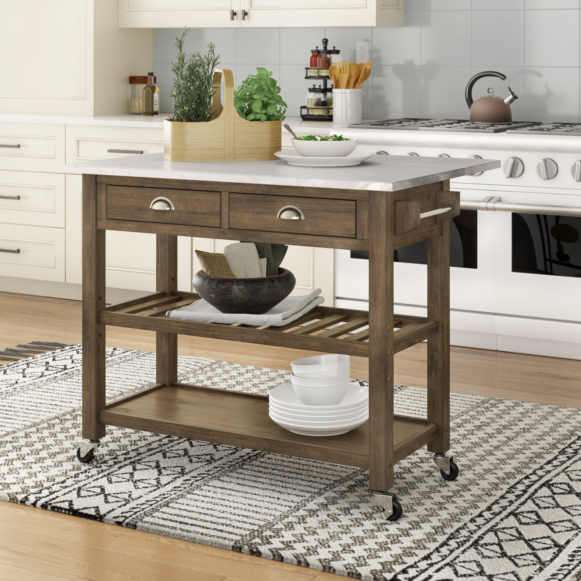 Trent Austin Design Hyndman 44 Solid Wood Kitchen Cart With Stainless Steel Top And Locking Wheels Reviews Wayfair